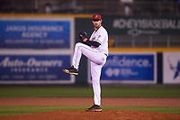 Lansing Lugnuts relief pitcher Sean Rackoski (28) during a Midwest League game against the Wisconsin Timber Rattlers at Cooley Law School Stadium on May 2, 2019 in Lansing, Michigan. Lansing defeated Wisconsin 10-4. (Zachary Lucy/Four Seam Images)