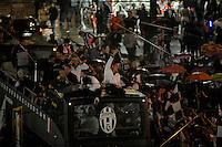 Juventus team celebrates winning of italian championship on a bus in Piazza Castello, center of Turin .L'autobus scoperto con la squadra della Juventus Campione d'Italia in Piazza Castello gremita di tifosi .Torino 05/05/2013 Piazza Castello.Football Calcio Serie A  2012/13.Festeggiamenti Juventus Campione d'Italia .Foto Insidefoto Federico Tardito