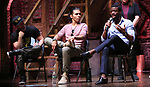 "Roddy Kennedy, Anthony Lee Medina and Ryan Vasquez from the 'Hamilton' cast during a Q & A before The Rockefeller Foundation and The Gilder Lehrman Institute of American History sponsored High School student #EduHam matinee performance of ""Hamilton"" at the Richard Rodgers Theatre on June 6, 2018 in New York City."