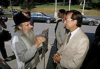 anglo militant Dave Parson<br />  (L) and Quebec Premier Robert Bourassa<br /> undated file photo, circa 1987