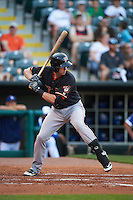 Fresno Grizzles third baseman Matt Duffy (17) at bat during a game against the Oklahoma City Dodgers on June 1, 2015 at Chickasaw Bricktown Ballpark in Oklahoma City, Oklahoma.  Fresno defeated Oklahoma City 14-1.  (Mike Janes/Four Seam Images)
