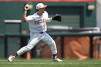Second baseman Jordan Etier #7 of the Texas Longhorns throws the ball to first against Texas Tech on April 17, 2011 at UFCU Disch-Falk Field in Austin, Texas. (Photo by Andrew Woolley / Four Seam Images)