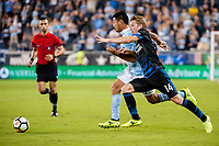 Kansas City, KS - Wednesday August 9, 2017: Roger Espinoza, Jackson Yueill during a Lamar Hunt U.S. Open Cup Semifinal match between Sporting Kansas City and the San Jose Earthquakes at Children's Mercy Park.