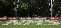 Two special 30ft-long flowerbeds have been unveiled in front of Buckingham Palace in tribute to NHS workers ahead of the Health Service's 72nd anniversary. The colourful flowerbeds, which spell out NHS, have been planted in the Memorial Gardens in St James's Park. July 3rd 2020<br /> <br /> Photo by Keith Mayhew