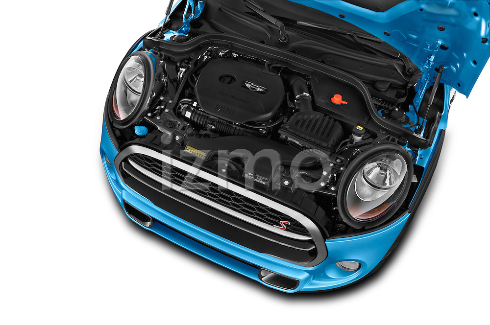 Car Stock 2015 MINI Cooper S 4 Door 4 Door Hatchback Engine high angle detail view