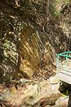 Barely visible, the rock carvings At Wong Cheuk Hang, Hong Kong Island.