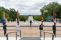 Troops and Joint Forces Color Guard are posted as part of the National Memorial Day Observance at Arlington National Cemetery, Arlington, Virginia, May 25, 2020. This was the 152nd Memorial Day wreath-laying and observance ceremony at Arlington National Cemetery. (U.S. Army photo by Elizabeth Fraser / Arlington National Cemetery / released)