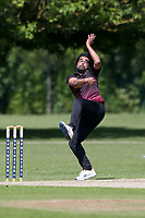 R Bhome in bowling action for Fives during Upminster CC vs Fives & Heronians CC, Hamro Foundation Essex League Cricket at Upminster Park on 5th June 2021