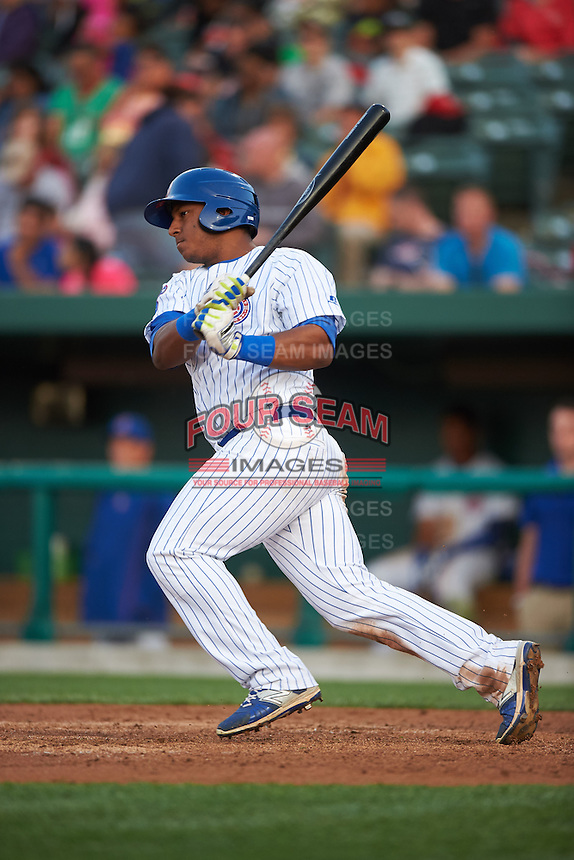 South Bend Cubs outfielder Jeffrey Baez (33) at bat during a game against the Cedar Rapids Kernels on June 5, 2015 at Four Winds Field in South Bend, Indiana.  South Bend defeated Cedar Rapids 9-4.  (Mike Janes/Four Seam Images)