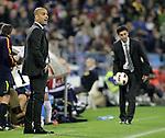FC Barcelona's Pep Guardiola (l) and Real Zaragoza's coach Jose Aurelio Gay  during La Liga match.October 23,2010. (ALTERPHOTOS/Acero)