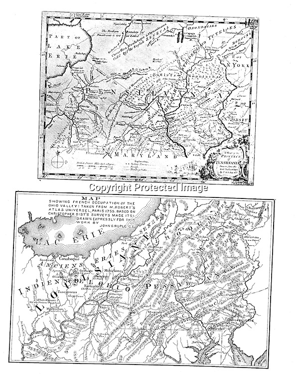 1700s: British and French maps of Pennsylvania and Ohio.