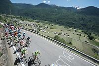 the peloton, with Maglia Rosa  Alberto Contador (ESP/Tinkoff-Saxo) up front, up the only climb of the day (straight after the start): the Teglio climb (851m)<br /> <br /> stage 17: Tirano - Lugano (SUI) (134km)<br /> 2015 Giro d'Italia