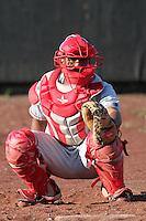 Spokane Indians catcher Yefry Castillo #8 before a game against the Salem-Keizer Volcanoes at Volcanoes Stadium on August 10, 2011 in Salem-Keizer,Oregon. Salem-Keizer defeated Spokane 7-6.(Larry Goren/Four Seam Images)