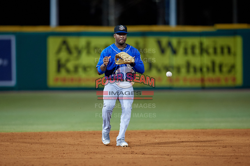 Biloxi Shuckers shortstop Luis Aviles Jr. (11) fields a batted ball during a Southern League game against the Pensacola Blue Wahoos on May 3, 2019 at Admiral Fetterman Field in Pensacola, Florida.  Pensacola defeated Biloxi 10-8.  (Mike Janes/Four Seam Images)