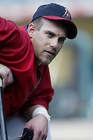 Brad Fullmer of the Los Angeles Angels before a 2002 MLB season game at Angel Stadium, in Anaheim, California. (Larry Goren/Four Seam Images)