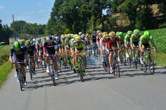 All teams give chase in the closing kilometres of Stage 8 of the 2015 Tour de France running 181.5km from Rennes to Mur de Bretagne, France. 10th July 2015.<br /> Photo: ASO/B.Bade/Newsfile