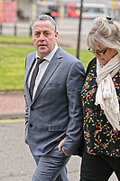 "COPY BY TOM BEDFORD<br /> Pictured: Victim David Evans (L) arrives at Merthyr Tydfil Crown Court, Wales, UK. Tuesday 06 February 2018<br /> Re: A trial of chef Kamrul Islam who attacked a client with chilli powder is due to start Merthyr Tydfil Crown Court.<br /> David Evans was at the Prince of Bengal restaurant on Saturday night when the incident took place.<br /> The 46-year-old was out for dinner with his wife Michelle when they were asked by a waiter if they were enjoying their curry.<br /> The couple said they told the waiter their meal was ""tough and rubbery"" and he passed the complaint onto the head chef.<br /> Michelle said chilli powder was then thrown into her husband's eyes and he was taken to hospital."