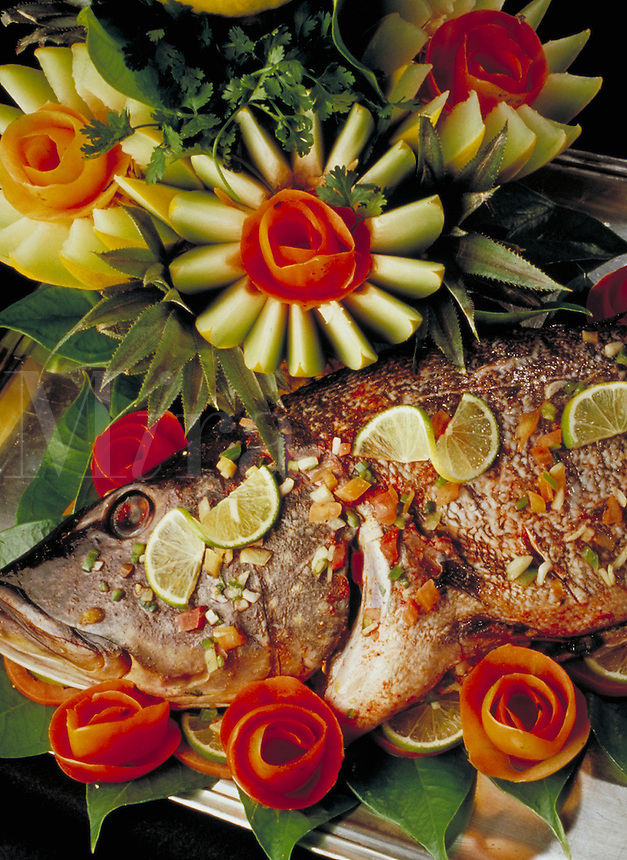 Fruit and fish as prepared by the executive chef of the Tropical Hotel, Manaus, Amazonas, Brazil. Manaus Amazonas Brazil The Amazon.