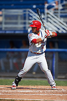 Auburn Doubledays left fielder Oliver Ortiz (12) at bat during the first game of a doubleheader against the Batavia Muckdogs on September 4, 2016 at Dwyer Stadium in Batavia, New York.  Batavia defeated Auburn 1-0 in a continuation of a game started on August 13. (Mike Janes/Four Seam Images)