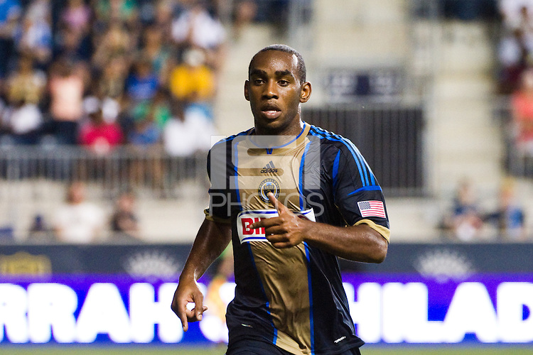 Amobi Okugo (14) of the Philadelphia Union. Sporting Kansas City defeated the Philadelphia Union 2-0 during the semifinals of the 2012 Lamar Hunt US Open Cup at PPL Park in Chester, PA, on July 11, 2012.