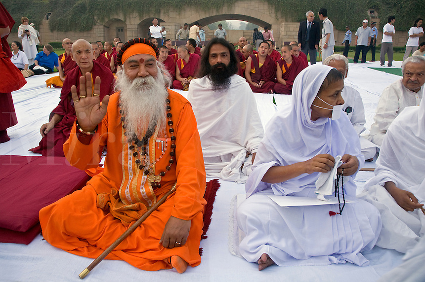 Hindus, Jains and Buddhists attend a PRAYER FOR WORLD PEACE sponsored by the 14th Dalai Lama of Tibet at the RAJ GHAT (Ghandi's eternal flame) in April of 2008 -  NEW DELHI, INDIA