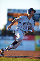 Mahoning Valley Scrappers second baseman Mark Mathias (29) running the bases during a game against the Batavia Muckdogs on June 23, 2015 at Dwyer Stadium in Batavia, New York.  Mahoning Valley defeated Batavia 11-2.  (Mike Janes/Four Seam Images)