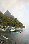 Waterfront of Soufriere village, St. Lucia, with the Pitons in background