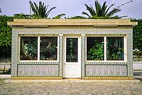 Ceramics, Nabeul, Tunisia.  Florist's Shop Decorated in Ceramic Tiles.