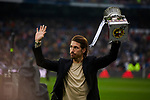 Sergio Ramos of Real Madrid shows the spanish Supercup trophy during La Liga match between Real Madrid and Sevilla FC at Santiago Bernabeu Stadium in Madrid, Spain. January 18, 2020. (ALTERPHOTOS/A. Perez Meca)