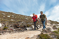 Andy Turner and Dave Macleod on approach to a climb in Hoy, Orkneys, Scotland