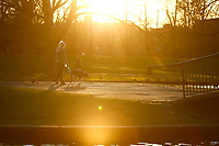 A resident walks his dogs through Lake Elizabeth on the North Side on Sunday March 29, 2020 in Pittsburgh, Pennsylvania. (Photo by Jared Wickerham/Pittsburgh City Paper)