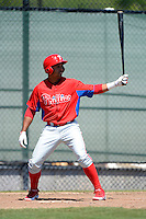 Philadelphia Phillies outfielder Samuel Hiciano (34) during a minor league Spring Training game against the New York Yankees at Carpenter Complex on March 21, 2013 in Clearwater, Florida.  (Mike Janes/Four Seam Images)
