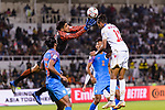 Goalkeeper Gurpreet Singh Sandhu of India (L) saves the attempt by Mohamed Saad Alromaihi of Bahrain (R)  during the AFC Asian Cup UAE 2019 Group A match between India (IND) and Bahrain (BHR) at Sharjah Stadium on 14 January 2019 in Sharjah, United Arab Emirates. Photo by Marcio Rodrigo Machado / Power Sport Images