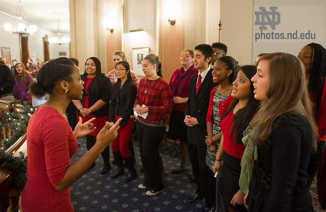 Dec. 13, 2013; The Voices of Faith Gospel Choir sings at the annual President's Christmas Reception in the Main Building.<br /> <br /> Photo by Matt Cashore/University of Notre Dame