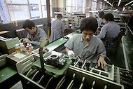 October, 1980. Tokyo, Japan. The workers oif the Nikon factory, Oi, in Tokyo.