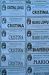 Italie. Italia. Sardaigne. Sardinia.annonces nécrologiques sur les murs  à Fonni