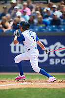 Wilmington Blue Rocks shortstop Nicky Lopez (7) at bat during the first game of a doubleheader against the Frederick Keys on May 14, 2017 at Daniel S. Frawley Stadium in Wilmington, Delaware.  Wilmington defeated Frederick 10-2.  (Mike Janes/Four Seam Images)