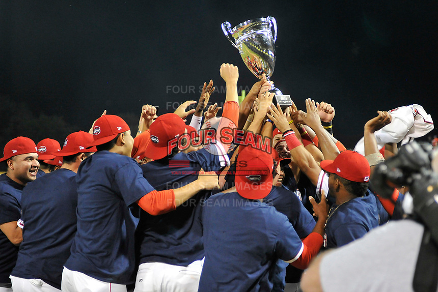 Greenville Drive players celebrate their 2017 South Atlantic League Championship following an 8-3 win over the Kannapolis Intimidators in Game 4 of the Championship Series on Friday, September 15, 2017, at Fluor Field at the West End in Greenville, South Carolina. It was Greenville's first SAL Championship. Greenville won the series 3-1. (Tom Priddy/Four Seam Images)