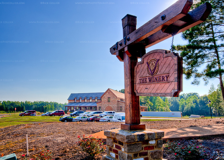 The New Kent Winery building is set back from the road with ample dedicated parking and beautiful gardens.   (HDR Image)