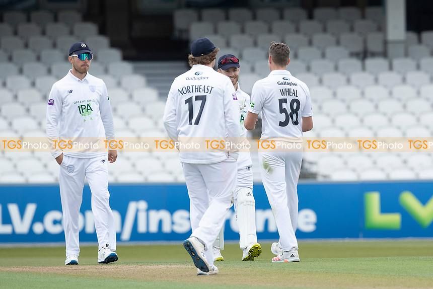 Hampshire celebrate the wicket of Jordan Clark bowled by Brad Wheal, Hampshire CCC during Surrey CCC vs Hampshire CCC, LV Insurance County Championship Group 2 Cricket at the Kia Oval on 1st May 2021