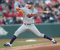 Auburn starter Jack Owen delivers to the plate Friday, April 2, 2021, during the first inning of play against Arkansas at Baum-Walker Stadium in Fayetteville. Visit nwaonline.com/210403Daily/ for today's photo gallery. <br /> (NWA Democrat-Gazette/Andy Shupe)