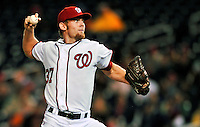 6 September 2011: Washington Nationals pitcher Stephen Strasburg on the mound against the Los Angeles Dodgers at Nationals Park in Washington, District of Columbia. Strasburg struck out 4, and gave up 2 hits in 5 scoreless innings during his first Major League start since having Tommy John surgery last season. The Dodgers defeated the Nationals 7-3 to take the second game of their 4-game series. Mandatory Credit: Ed Wolfstein Photo