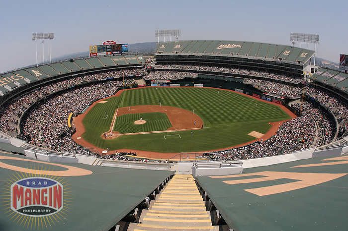 OAKLAND, CA - JUNE 29:  General overall stadium view of McAfee Coliseum during the game between the San Francisco Giants and the Oakland Athletics at the McAfee Coliseum in Oakland, California on June 29, 2008.  Photo by Brad Mangin