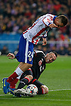 Atletico de Madrid´s Gimenez and Bayer 04 Leverkusen´s Drmic during the UEFA Champions League round of 16 second leg match between Atletico de Madrid and Bayer 04 Leverkusen at Vicente Calderon stadium in Madrid, Spain. March 17, 2015. (ALTERPHOTOS/Victor Blanco)