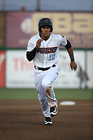 Michael Hermosillo (10) of the Inland Empire 66ers hustles towards third base during the game against the San Jose Giants at San Manuel Stadium on April 8, 2017 in San Bernardino, California. (Larry Goren/Four Seam Images)
