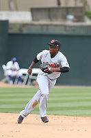 Domingo Leyba (2) of the Visalia Rawhide in the field during a game against the Rancho Cucamonga Quakes at LoanMart Field on May 6, 2015 in Rancho Cucamonga, California. Visalia defeated Rancho Cucamonga, 7-2. (Larry Goren/Four Seam Images)