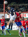Dundee's Craig Beattie gets above Cowdenbeath's Rory McKeown.