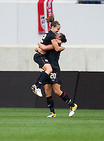 Lauren Cheney (12) of the USWNT celebrates her goal with teammate Abby Wambach (20) during the game at Red Bull Arena in Harrison, NJ.  The USWNT defeated Mexico, 1-0.