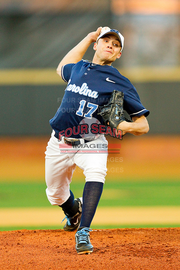 Starting pitcher Patrick Johnson #17 of the North Carolina Tar Heels in action against the Wake Forest Demon Deacons at Gene Hooks Field on March 11, 2011 in Winston-Salem, North Carolina.  Photo by Brian Westerholt / Four Seam Images