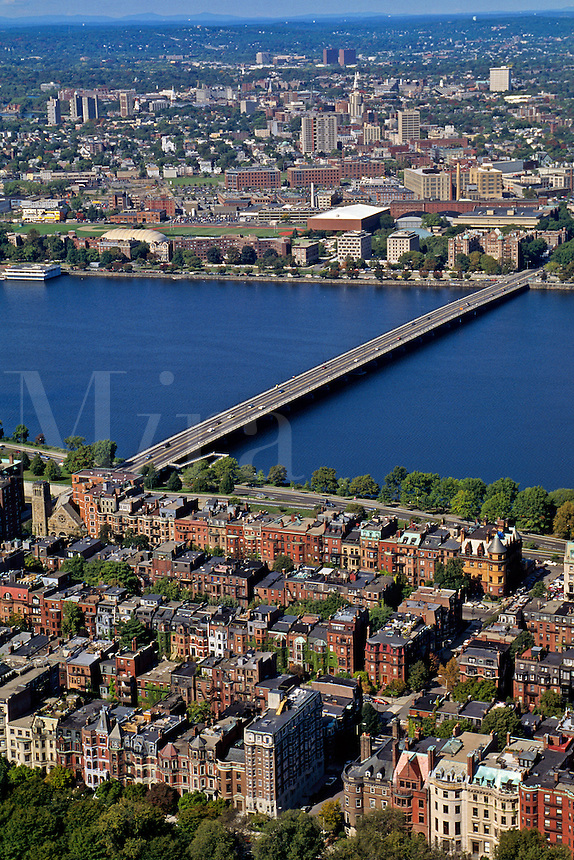 Massachusetts, Boston; Back Bay Brownstones, Harvard Bridge, Charles River & Cambridge MA In Distance; View From Observation Deck Of Prudential Towe